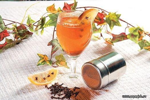 "черный чай - 100 мл черный ром  ""Бакарди "" - 50 мл лимон - 1/8 шт. мед - 1..."