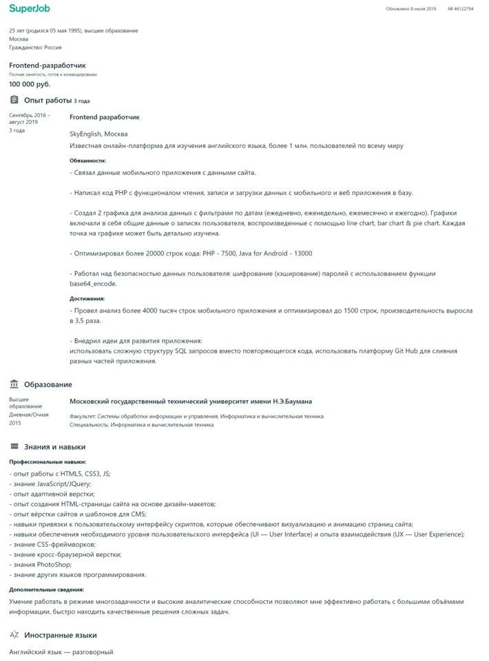 Образец резюме программиста