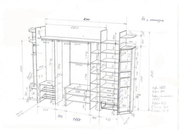 схемы шкафов купе угловых